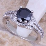 Black Cubic Zirconia White CZ 925 <b>Sterling</b> <b>Silver</b> <b>Ring</b> For Women Size 5 / 6 / 7 / 8 / 9 / 10 / 11 / 12 S0442