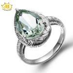 Hutang Brand Solid 925 <b>Sterling</b> <b>Silver</b> <b>Rings</b> for Women Natural Green Amethyst Diamond Jewelry Statement Cocktail <b>Ring</b> Gifts 2017