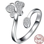 Aceworks Butterfly Adjustable Size Genuine 925 <b>Sterling</b> <b>Silver</b> Open <b>Rings</b> with Zirconia Women Punk Style Elegant Jewelry