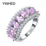 YINHED Brand Wedding <b>Rings</b> for Women Genuine Solid 925 <b>Sterling</b> <b>Silver</b> Engagement <b>Ring</b> Fashion Pink Zircon CZ Jewelry ZR262