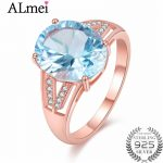 Almei Light Blue Topaz Zircon <b>Ring</b> with CZ Stone 925 <b>Sterling</b> <b>Silver</b> Women Rose Gold Color Wedding <b>Rings</b> Jewelry with Box CJ042