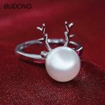 BUDONG Animal Deer Horn Antler Resizable Fine Jewelry for Women Cultured Freshwater Pearl <b>Ring</b> 925 <b>Sterling</b> <b>Silver</b> Party <b>Ring</b>