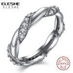 ELESHE Luxury Cubic Zirconia 925 <b>Sterling</b> <b>Silver</b> Twist <b>Ring</b> Rhinestones Eternity Band Wedding <b>Ring</b> bague femme Women Jewelry
