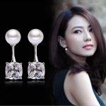 New 2016 Hot Sell Fashion Shiny Crystal & Pearl Design 925 <b>Sterling</b> <b>Silver</b> Stud <b>Earrings</b> for Women Girls Jewelry Christmas Gift