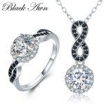 [BLACK AWN] 925 <b>Sterling</b> <b>Silver</b> Fine Jewelry Sets Trendy Engagement Sets Wedding <b>Ring</b>+Earring for Women PR036