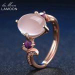 LAMOON 8x10mm Oval Rose Quartz Adjustable <b>Rings</b> 925 <b>Sterling</b> <b>Silver</b> Amethyst Gemstone Romantic Wedding Band <b>Ring</b> Fine Jewelry