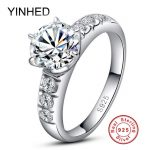 95% Off ! YINHED 1ct Sona CZ Diamant Wedding <b>Rings</b> for Women Solid 925 <b>Sterling</b> <b>Silver</b> <b>Ring</b> Engagement <b>Ring</b> Fine Jewelry ZR168