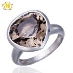 Hutang Smoky Quartz <b>Rings</b> 7.75ct Natural Gemstone Love Heart Style <b>Silver</b> 925 <b>Ring</b> For Women Men Jewelry Punk Anel Bijoux 2017