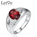 Leige Jewelry Real Garnet <b>Ring</b> Oval Cut 925 <b>Sterling</b> <b>Silver</b> Oval Cut Prong Setting Wedding <b>Rings</b> for Women Anniversary Gift