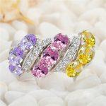 Eulonvan Treasurer recommended Brand New 925 <b>sterling</b> <b>silver</b> Yellow Pink Purple Cubic Zirconia <b>Rings</b> SS–3788URT Size #6 7 8 9