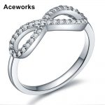 Aceworks Infinity Shape Real Pure Shiny 925 <b>Sterling</b> <b>Silver</b> Zirconia <b>Rings</b> Women Prom/Party Prevent Allergy Crystal Jewelry