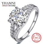 Real Solid <b>Silver</b> Wedding <b>Rings</b> For Women Inlay Sona 2 Carat CZ Diamant Engagement <b>Ring</b> 925 <b>Sterling</b> <b>Silver</b> Fine Jewelry YH128