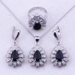Impressive Black Created Crystal & Cubic Zircon 925 <b>Sterling</b> <b>Silver</b> Jewelry Sets For Women Trendy Fashion Free Gift Box J0031