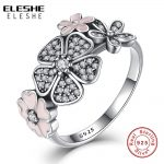 Valentine's Day Authentic 925 <b>Sterling</b> <b>Silver</b> Pink Flower Poetic Daisy Cherry Blossom Finger <b>Rings</b> for Women Original Jewelry