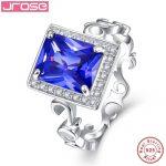 Jrose 8*10mm 5.3CT Lab created Solid 925 <b>Sterling</b> <b>Silver</b> <b>Ring</b> Elegant Gift Jewellery for Women Sz 6-9 Free with Box