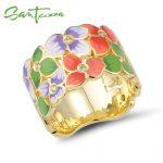 SANTUZZA <b>Silver</b> <b>Ring</b> For Women 925 <b>Sterling</b> <b>Silver</b> Flower Floral <b>Rings</b> Cubic Zirconia golden <b>Ring</b> Party Jewelry Enamel HANDMADE