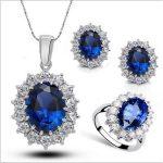 Kate princess crystal jewelry 925 <b>sterling</b> <b>silver</b> wedding jewelry sets for brides