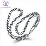 LycorisSmart <b>Sterling</b> <b>Silver</b> 925 elegant design minimalist Rope Winding Simple Stylish Cuff Open Adjustable <b>Ring</b> Woman Jewelry
