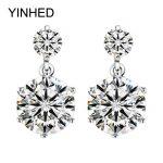YINHED Hearts & Arrows CZ Diamant Stud <b>Earrings</b> for Women Real 925 <b>Sterling</b> <b>Silver</b> Fashion Jewelry Wedding Accessories ZE050