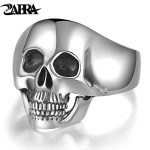 Real <b>Sterling</b> 925 <b>Silver</b> Skull <b>Rings</b> For Men Domineering Tooth Vintage Punk Rock Gothic Bague Argent Fashion Anel Masculino