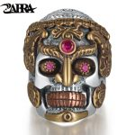 ZABRA Punk Rock Hyperbole Skull Smile Inlay Stone Red Garnet <b>Ring</b> for Men Women Gothic Bague Solid 925 <b>Sterling</b> <b>Silver</b> Jewelry