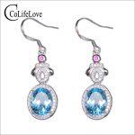 Elegant topaz wedding drop <b>earrings</b> 8 mm * 10 mm natural VVS light blue topaz gemstone <b>earrings</b> solid 925 <b>silver</b> topaz jewelry