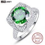 JQUEEN 6.5ct Genuine Emerald 925 <b>Sterling</b> <b>Silver</b> <b>Rings</b> Round Cut Flower Design Engagement <b>Ring</b> anillos anel aneis Wholesale