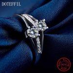 <b>Sterling</b> <b>Silver</b> <b>Ring</b> Woman Charm Double Zircon <b>Ring</b> High Quality 100% 925 <b>Silver</b> Luxury Jewelry