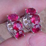 Good-Looking Red Cubic Zirconia 925 <b>Sterling</b> <b>Silver</b> Huggie Hoop <b>Earrings</b> For Women S0231