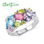 SANTUZZA <b>Silver</b> <b>Ring</b> For Women 925 <b>Sterling</b> <b>Silver</b> Fashion <b>Rings</b> for Women Colorful Stones Cubic Zirconia Ringen Party Jewelry