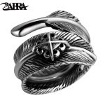 ZABRA <b>Sterling</b> 925 <b>Silver</b> Male Vintage Feather Cross Adjustable <b>Ring</b> Female Retro Black Punk Biker Anillos De Plata 925 Jewelry