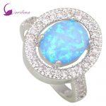 Luxury Sparkling Fashion Blue Fire Opal 925 <b>Sterling</b> <b>Silver</b> Wedding Women's <b>ring</b> size 5 6 7 8 9 R445
