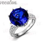 Vecalon fashion Crown wedding <b>ring</b> for women Round 8ct stone AAAAA Zircon Cz 925 <b>Sterling</b> <b>Silver</b> Engagement Band <b>ring</b>