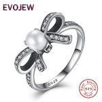 925 <b>Sterling</b> <b>Silver</b> Delicate Sentiments Bow Knot & Pearl <b>Ring</b> For Women Original Fashion Wedding Jewelry Valentine's Day Gift