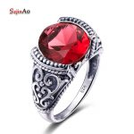 Szjinao Sale Luxury Brand Jewelry Vintage Retro Round Red Ruby <b>Rings</b> For Women 925 <b>Sterling</b> <b>Silver</b> Ladies <b>Rings</b> Size 5-10