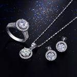 95% off Wedding Jewelry Sets for Brides 925 <b>Sterling</b> <b>Silver</b> AAAAA Level CZ Stud Earrings <b>Ring</b> Necklace Bridal Jewelry Set