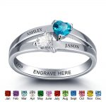 925 <b>Sterling</b> <b>Silver</b> Personalized Birthstone Engagement <b>Ring</b> Double Heart Engrave Name Romantic Birthday Gift For Her (RI101976)