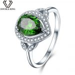 DOUBLE-R Created Emerald Gemstone 925 <b>Sterling</b> <b>Silver</b> Zirconia Embroidery <b>Ring</b> Costume <b>Rings</b> Embroidery