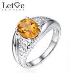 Leige Jewelry Natural Citrine <b>Ring</b> for Women Yellow Gemstone 925 <b>Sterling</b> <b>Silver</b> Engagement <b>Rings</b> Oval Cut November Birthstone