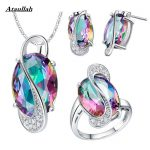 Ataullah Wedding Jewelry Sets for Women Brides 925 <b>Sterling</b> <b>Silver</b> Stud Earrings <b>Ring</b> Necklace Bridal Jewelry Sets JWS001